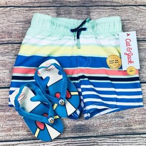 NWT size 18 month swim trunk & flip/flop